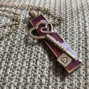 Handmade Resin Heart Key Pendent Necklace NWOT